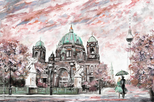 oil painting on canvas, street view of Berlin,  Artwork European landscape in sepia, green and pink color. man and woman under umbrella. Trees, Cathedral, Tower