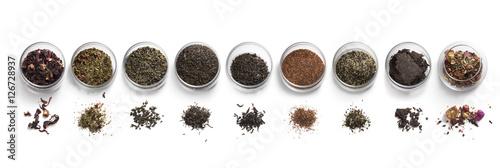 Fototapeta tea accessories on a white background