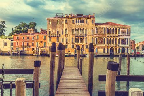 Canvas Print Wooden bridge, Venice, Italy