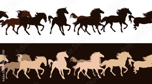 Photo running horses herd - horizontally seamless vector border