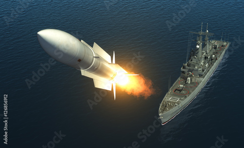 Photo Missile Launch From A Warship On The High Seas