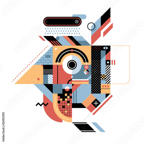 Geometric illustration with rooster's head. Style of abstract art, constructivism and modern graffiti. Useful for prints and covers, design element is isolated on white background.