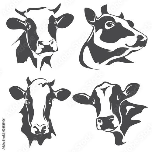 Canvas Print cow head portrait, set of stylized vector symbols