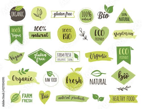 Obraz na płótnie Bio, Ecology, Organic logos and icons, labels, tags