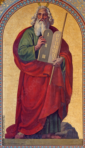 Obraz na płótnie VIENNA - JULY 27:  Fresco of Moses by Joseph Schonman from year 1857 in Altlerchenfelder church on July 27, 2013 Vienna