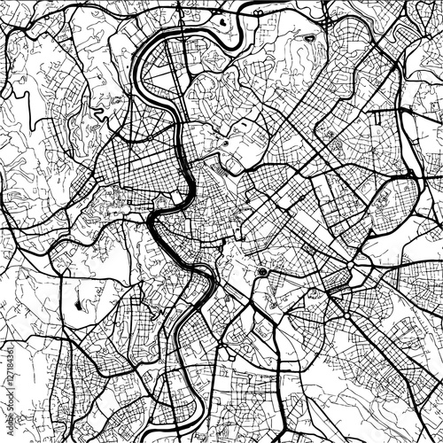 Fototapeta Rome, Italy, Monochrome Map Artprint