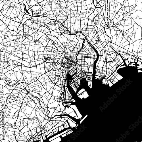 Fototapeta Tokyo, Japan, Monochrome Map Artprint