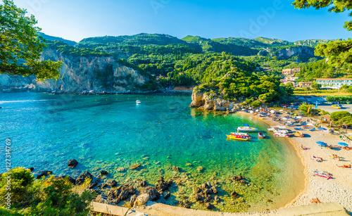 Canvas Print Beautiful beach and boat in Paleokastritsa, Corfu island, Greece