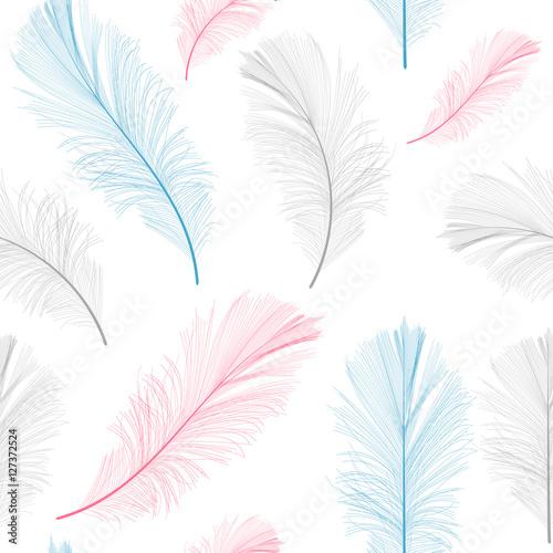 Pióro ptaka ręcznie rysowane bezszwowe tło wzór wektor ilus