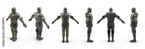 Canvastavla Old metal knight armour renders set from different angles on a white
