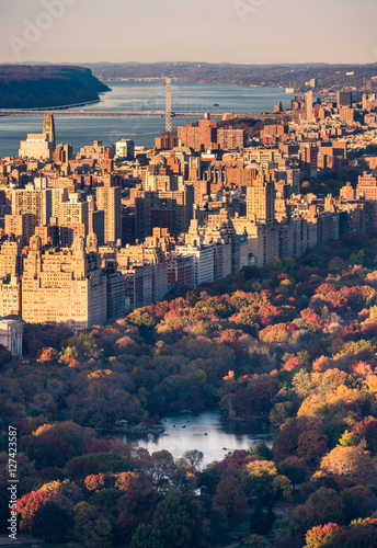 Aerial view of the Central Park and Manhattan skyline Poster Mural XXL