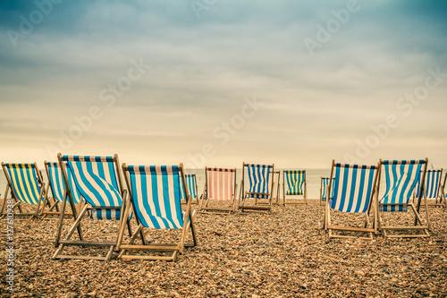 Canvas Print Brighton Beach Deckchairs