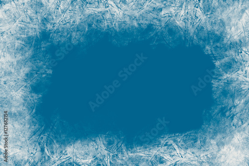 Fototapeta Christmas blue background with frozen pattern