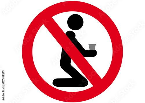 Schild Betteln verboten Fototapet
