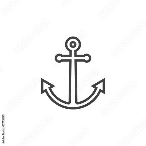 Obraz na płótnie Anchor line icon, outline vector sign, linear pictogram isolated on white