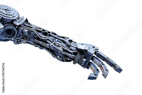 Canvas Print Left arm of a robot made from car parts and spares