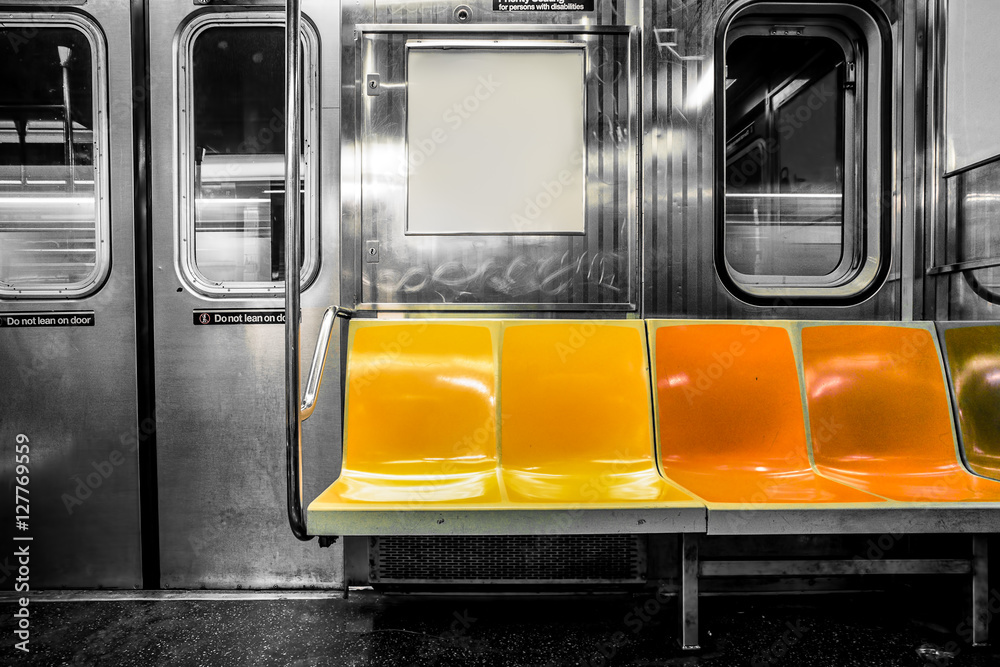 New York City subway car interior with colorful seats