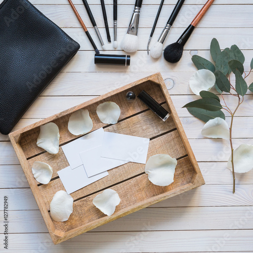 Foto Cosmetic set, top view, flat lay