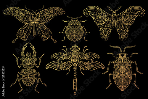 Tablou Canvas Set of insects butterflies, dragonflies, beetles.