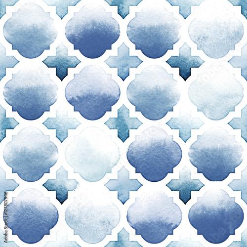 Fototapeta Morrocan ornament niebieskie kolory na białym tle