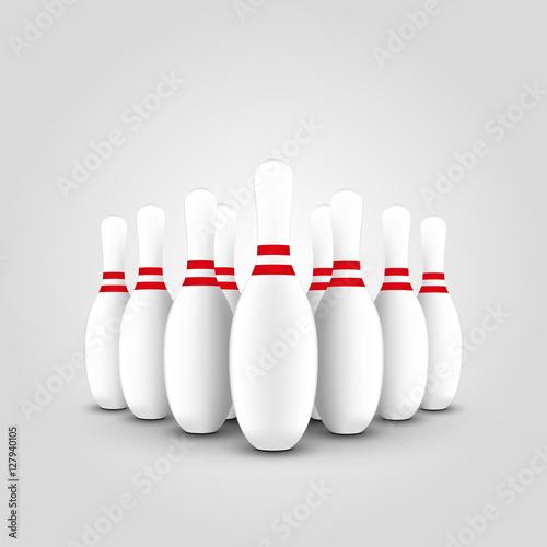 Slika na platnu Skittles for bowling, vector illustration, set on gray background