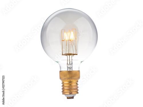 Fotografia high power edison light bulb on white background