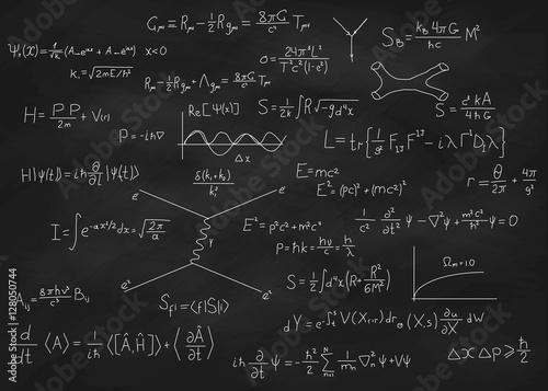 Photo Science blackboard with math
