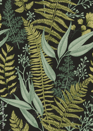 Fotomural Seamless floral pattern in vintage style.