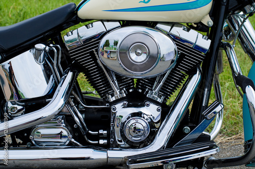 Canvas Print Glowing chrome motorcycle engine block