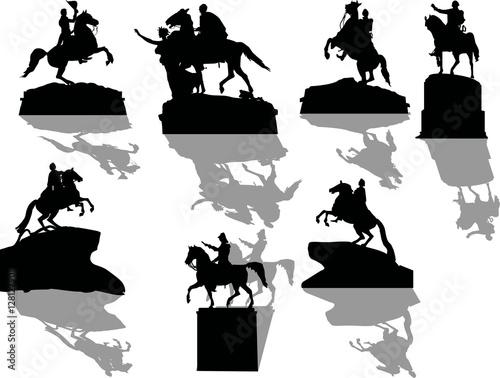 set of seven horseman statues with shadows Fototapeta