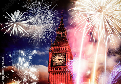 New Year in the city - Big Ben with fireworks #128296324