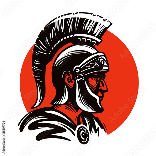 Roman soldier or Gladiator inside circle. Vector illustration Fototapeta