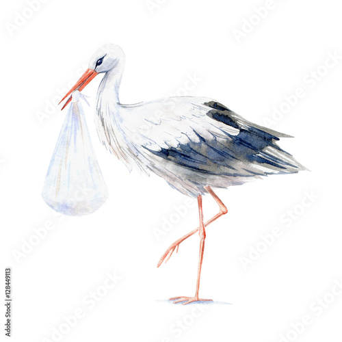 Stampa su Tela Stork with baby