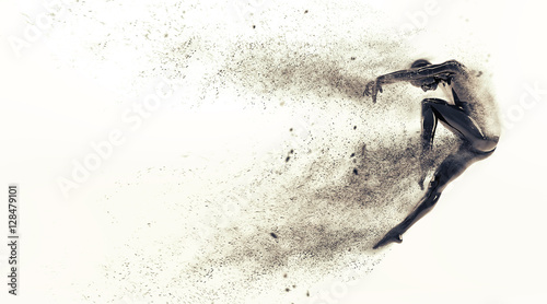 Abstract black plastic human body mannequin with scattering particles over white background. Action dance jump ballet pose. 3D rendering illustration