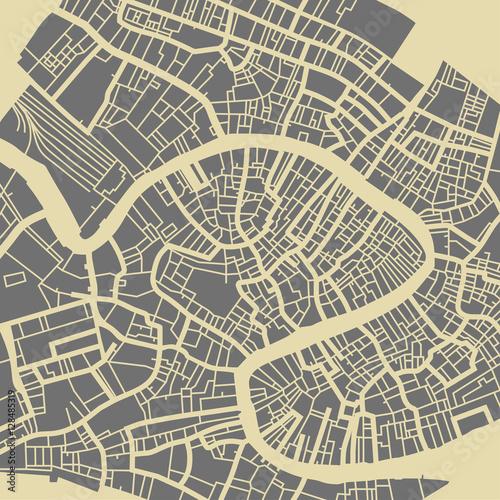 Mapa wektorowa Wenecji. Monochromatyczna podstawa w stylu vintage dla karty podróży, reklamy, prezentu lub plakatu.