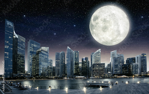 big full moon in the sky of Singapore