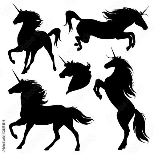 Canvas Print unicorn horses black vector silhouette set