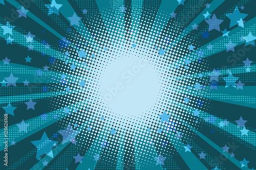 Night stars holiday blue pop art background