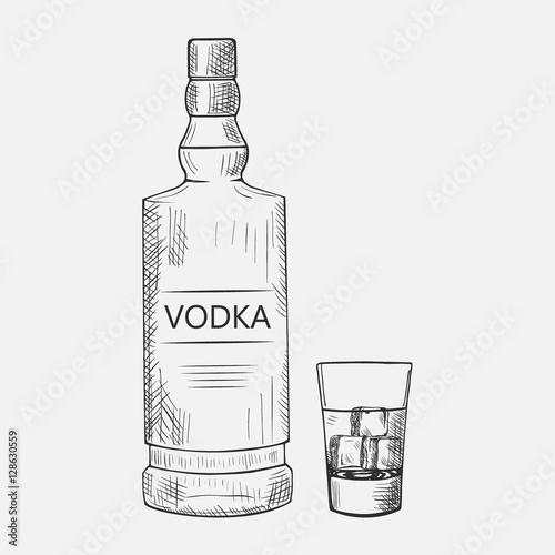 Hand drawn set of vodka elements Fototapeta