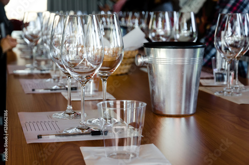 Table with glasses ready for wine tasting in a winery of Langhe (Italy) Fototapeta