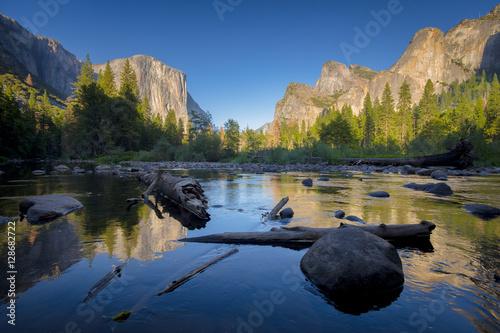 Classic view of Yosemite Valley at sunset, California, USA