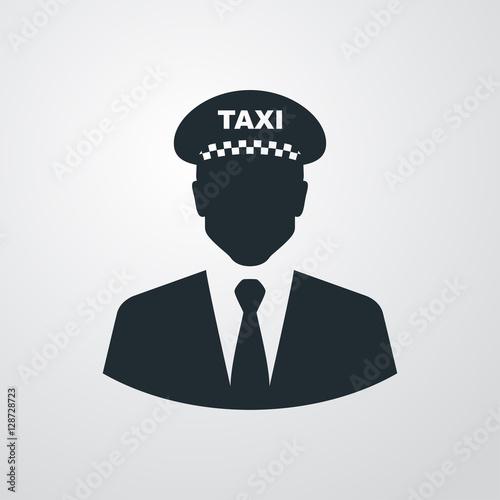 Icono plano silueta taxista en fondo degradado Fototapete