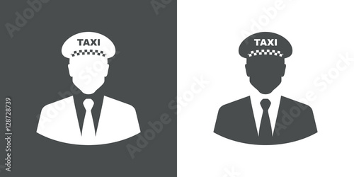 Fényképezés Icono plano silueta taxista gris y blanco