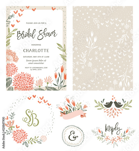 Fotografia Rustic hand drawn Bridal Shower invitation with seamless background and floral design elements