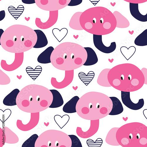 seamless cute elephant pattern vector illustration