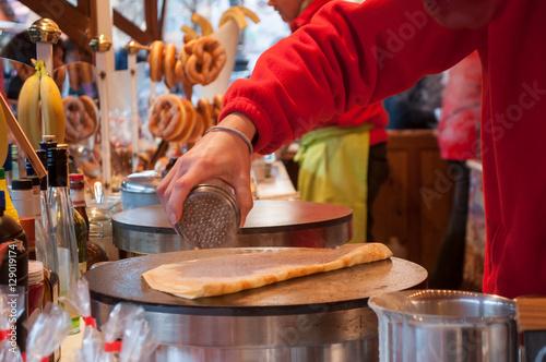 crêpe au sucre au marché de noël