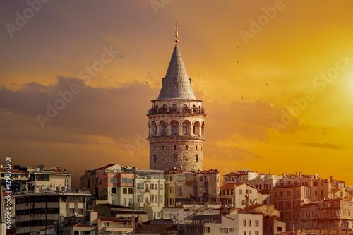 Galata Tower in Istanbul Turkey Fototapeta
