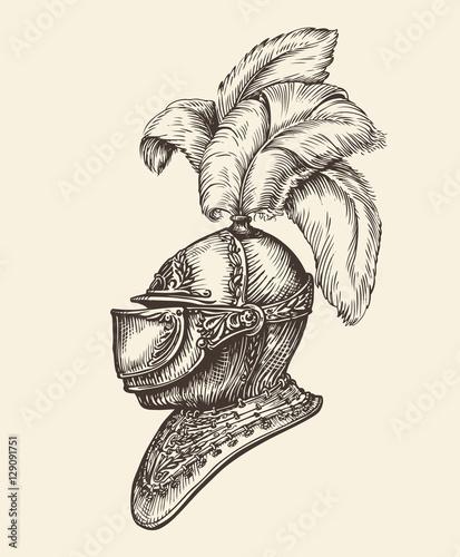 Fotografia Medieval knight helmet. Vintage sketch, vector illustration