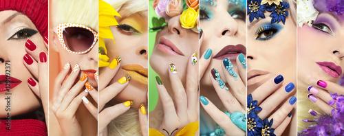 Slika na platnu Радужный разноцветный макияж и маникюр на ногтях с различным дизайном на девушке для любого время года