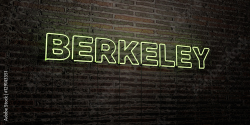 BERKELEY -Realistic Neon Sign on Brick Wall background - 3D rendered royalty free stock image Fototapete